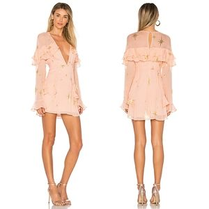 For Love & Lemons Gilded Star mini dress rose gold